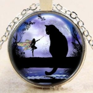 Collier FEE ET Son Chat Noir, Statuette FEE, Figurine FEE, Collier Chat