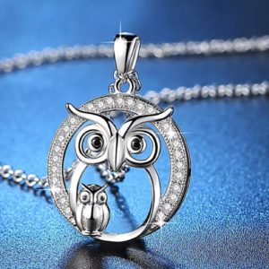 Collier chouette, collier hibou, figurine chouette, statuette chouette, chouette, figurine hibou, parure chouette