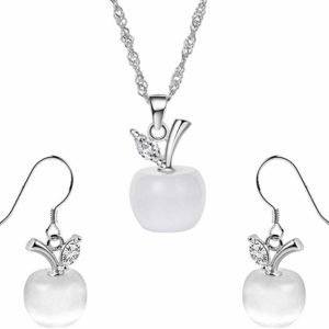 collier blanche neige, collier pomme, collier fee