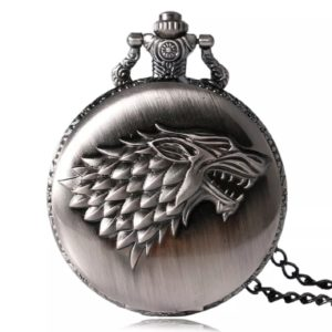 montre a gousset loup, montre game of thrones, statuette loup, loup