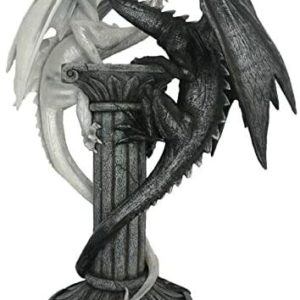 statuette dragon, statue dragon, dragon blanc, decoration dragon, 2 dragons, statuette game of thrones